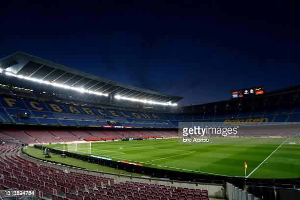 General view inside the stadium prior to the La Liga Santander match between FC Barcelona and Getafe CF at Camp Nou on April 22, 2021 in Barcelona,...