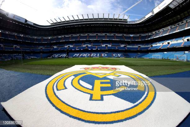 General view inside the stadium prior to the Liga match between Real Madrid CF and Club Atletico de Madrid at Estadio Santiago Bernabeu on February...