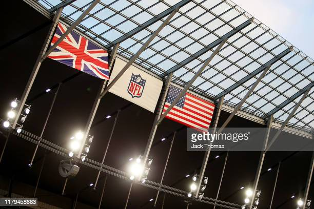 General view inside the stadium prior to the NFL match between the Chicago Bears and Oakland Raiders at Tottenham Hotspur Stadium on October 06, 2019...