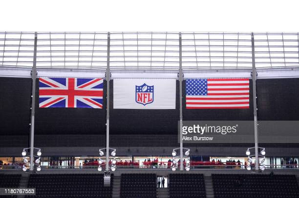 General view inside the stadium prior to the NFL match between the Carolina Panthers and Tampa Bay Buccaneers at Tottenham Hotspur Stadium on October...