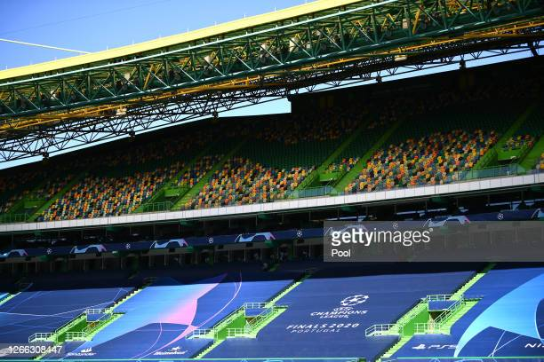 General view inside the stadium prior to the Olympique Lyonnais Training Session ahead of the UEFA Champions League match between Manchester City and...