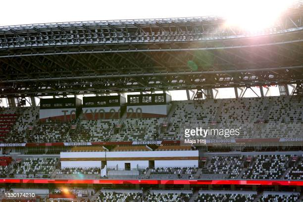 General view inside the stadium prior to the Opening Ceremony of the Tokyo 2020 Olympic Games at Olympic Stadium on July 23, 2021 in Tokyo, Japan.