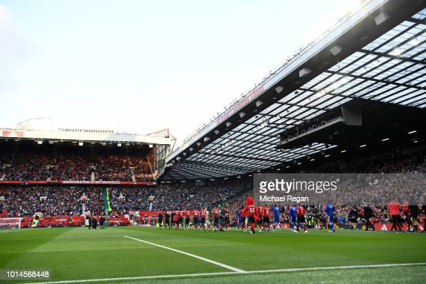 A general view inside the stadium prior to the Premier League match between Manchester United and Leicester City at Old Trafford on August 10 2018 in...