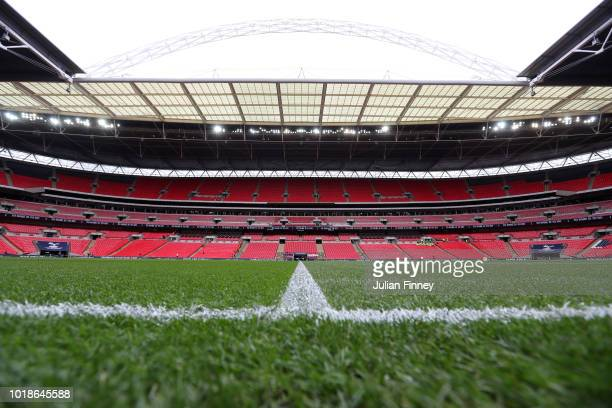 General view inside the stadium prior to the Premier League match between Tottenham Hotspur and Fulham FC at Wembley Stadium on August 18 2018 in...