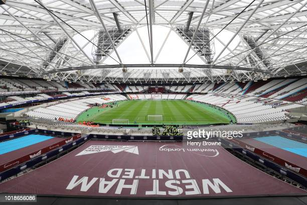 General view inside the stadium prior to the Premier League match between West Ham United and AFC Bournemouth at London Stadium on August 18, 2018 in...