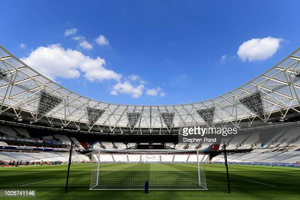 General view inside the stadium prior to the Premier League match between West Ham United and Wolverhampton Wanderers at London Stadium on September...