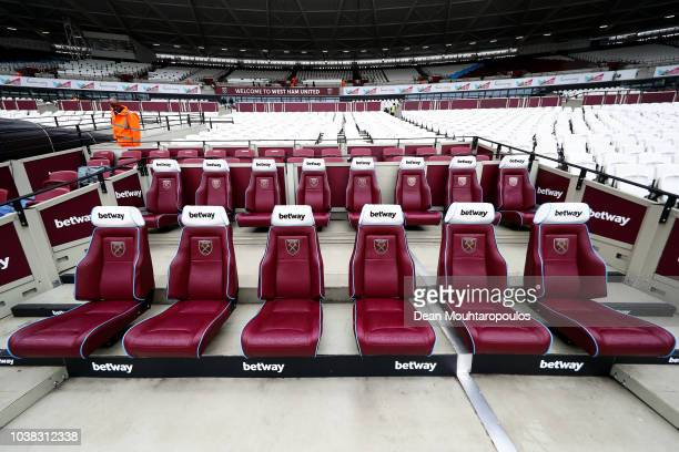 General view inside the stadium prior to the Premier League match between West Ham United and Chelsea FC at London Stadium on September 23 2018 in...