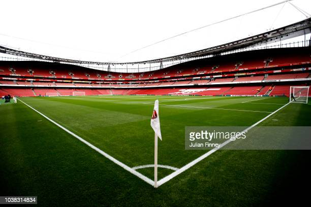 General view inside the stadium prior to the Premier League match between Arsenal FC and Everton FC at Emirates Stadium on September 23 2018 in...