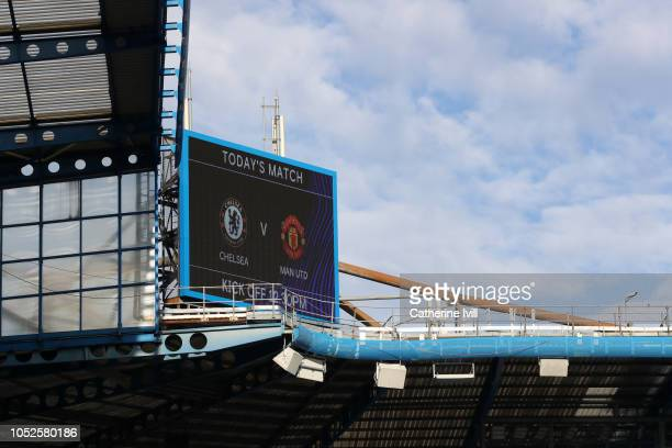 A general view inside the stadium prior to the Premier League match between Chelsea FC and Manchester United at Stamford Bridge on October 20 2018 in...