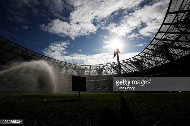General view inside the stadium prior to the Premier League match between West Ham United and Tottenham Hotspur at London Stadium on October 20 2018...