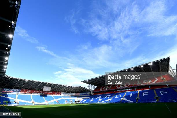 General view inside the stadium prior to the Premier League match between Cardiff City and Brighton Hove Albion at the Cardiff City Stadium on...