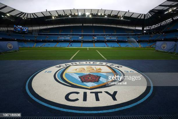 General view inside the stadium prior to the Premier League match between Manchester City and AFC Bournemouth at Etihad Stadium on December 1 2018 in...