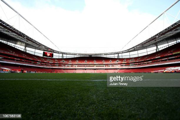 General view inside the stadium prior to the Premier League match between Arsenal FC and Tottenham Hotspur at Emirates Stadium on December 1 2018 in...