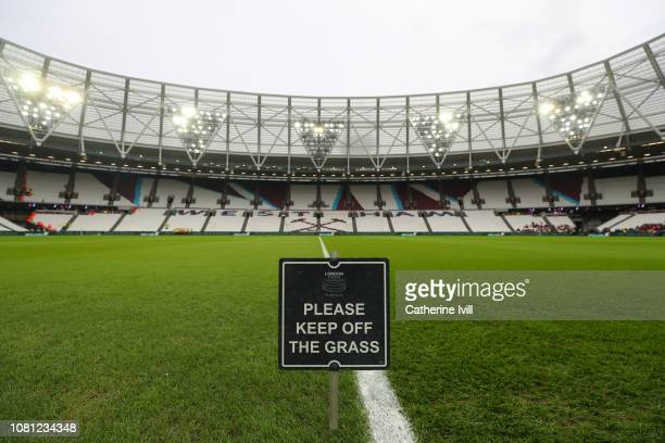 General view inside the stadium prior to the Premier League match between West Ham United and Arsenal FC at London Stadium on January 12 2019 in...