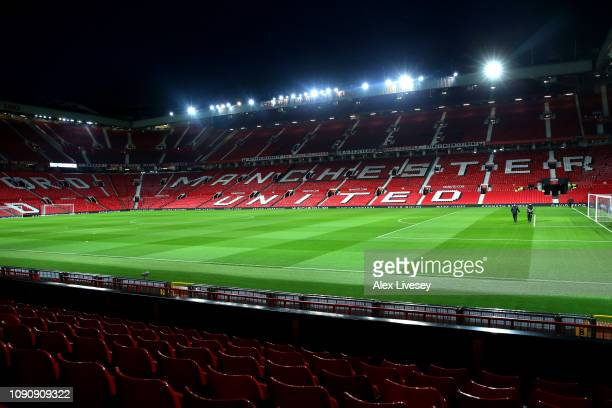 General view inside the stadium prior to the Premier League match between Manchester United and Burnley at Old Trafford on January 29 2019 in...