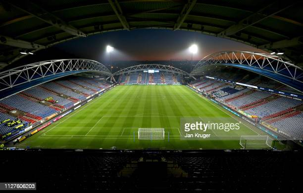 General view inside the stadium prior to the Premier League match between Huddersfield Town and Wolverhampton Wanderers at John Smith's Stadium on...