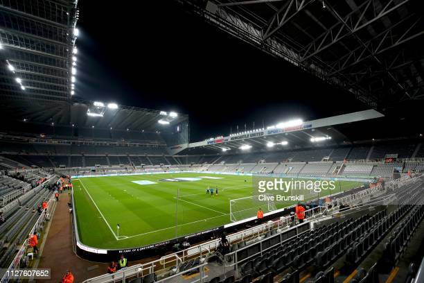 General view inside the stadium prior to the Premier League match between Newcastle United and Burnley FC at St James Park on February 26 2019 in...