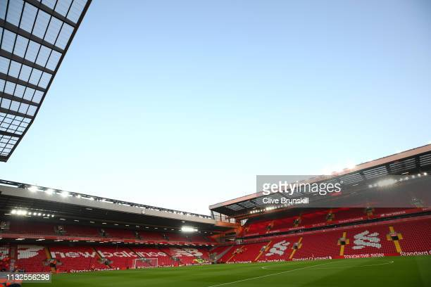 General view inside the stadium prior to the Premier League match between Liverpool FC and Watford FC at Anfield on February 27 2019 in Liverpool...