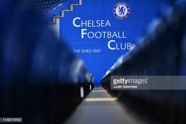 General view inside the stadium prior to the Premier League match between Chelsea FC and Brighton & Hove Albion at Stamford Bridge on April 03, 2019...
