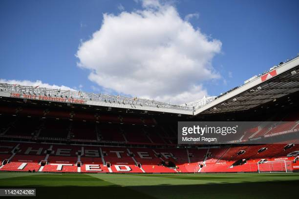 General view inside the stadium prior to the Premier League match between Manchester United and West Ham United at Old Trafford on April 13 2019 in...