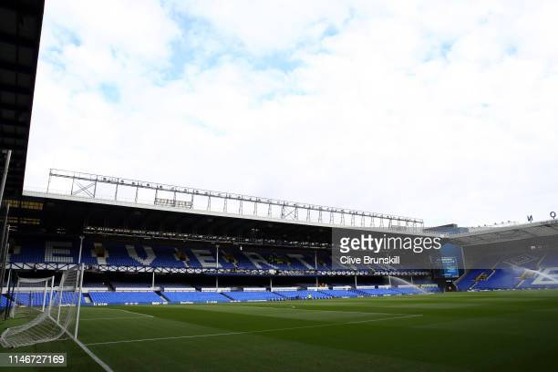 A general view inside the stadium prior to the Premier League match between Everton FC and Burnley FC at Goodison Park on May 03 2019 in Liverpool...