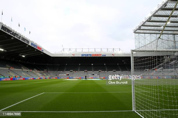 General view inside the stadium prior to the Premier League match between Newcastle United and Liverpool FC at St James Park on May 04 2019 in...