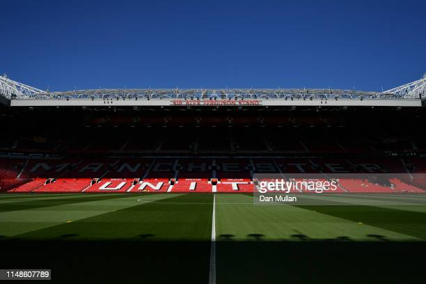 General view inside the stadium prior to the Premier League match between Manchester United and Cardiff City at Old Trafford on May 12 2019 in...