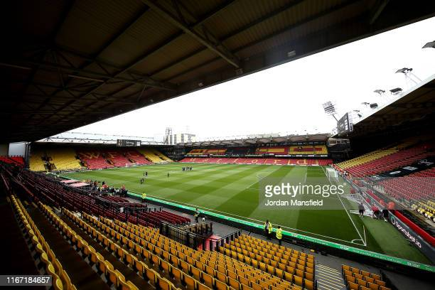 General view inside the stadium prior to the Premier League match between Watford FC and Brighton & Hove Albion at Vicarage Road on August 10, 2019...