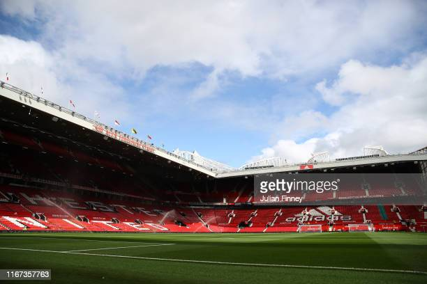 General view inside the stadium prior to the Premier League match between Manchester United and Chelsea FC at Old Trafford on August 11 2019 in...