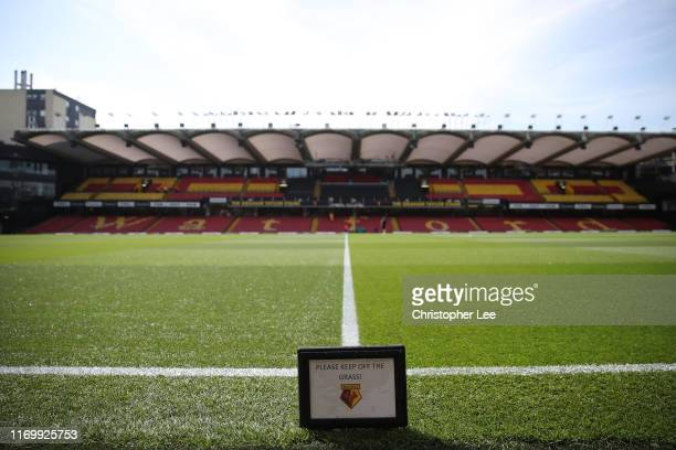 General view inside the stadium prior to the Premier League match between Watford FC and West Ham United at Vicarage Road on August 24, 2019 in...