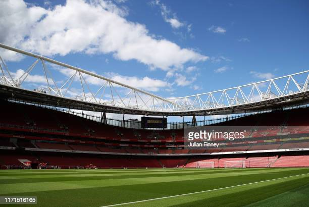 General view inside the stadium prior to the Premier League match between Arsenal FC and Tottenham Hotspur at Emirates Stadium on September 01 2019...