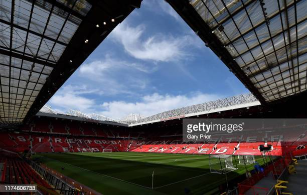 General view inside the stadium prior to the Premier League match between Manchester United and Leicester City at Old Trafford on September 14 2019...