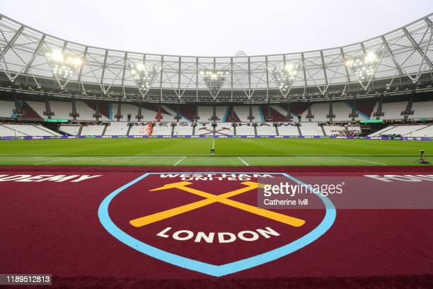 General view inside the stadium prior to the Premier League match between West Ham United and Tottenham Hotspur at London Stadium on November 23,...