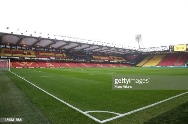 General view inside the stadium prior to the Premier League match between Watford FC and Burnley FC at Vicarage Road on November 23, 2019 in Watford,...