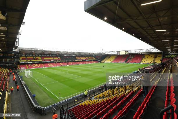 General view inside the stadium prior to the Premier League match between Watford FC and Aston Villa at Vicarage Road on December 28, 2019 in...