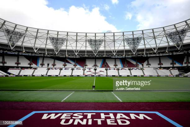 General view inside the stadium prior to the Premier League match between West Ham United and Brighton & Hove Albion at London Stadium on February...