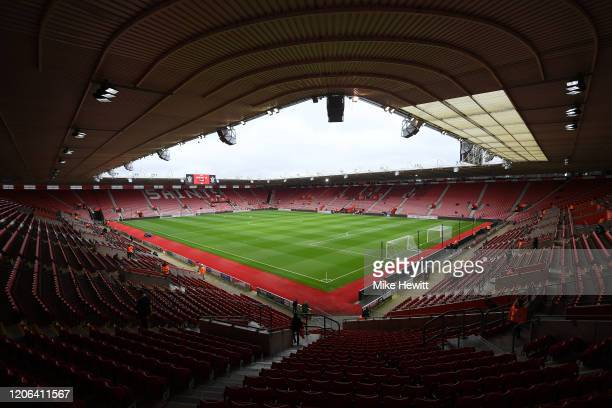 General view inside the stadium prior to the Premier League match between Southampton FC and Burnley FC at St Mary's Stadium on February 15, 2020 in...