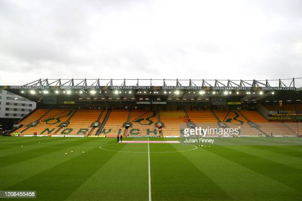 General view inside the stadium prior to the Premier League match between Norwich City and Liverpool FC at Carrow Road on February 15 2020 in Norwich...