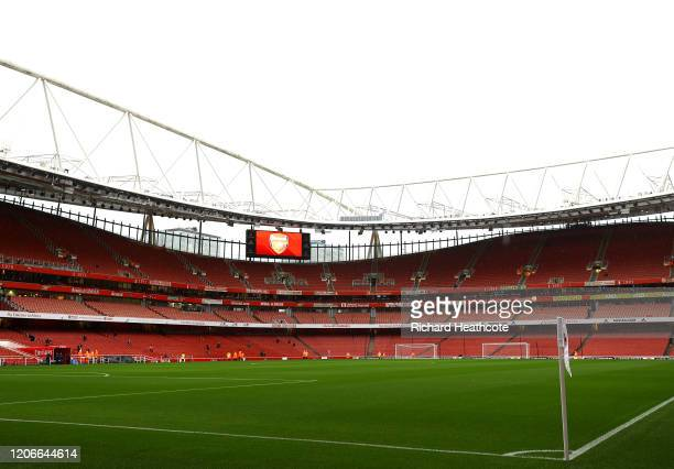 General view inside the stadium prior to the Premier League match between Arsenal FC and Newcastle United at Emirates Stadium on February 16, 2020 in...
