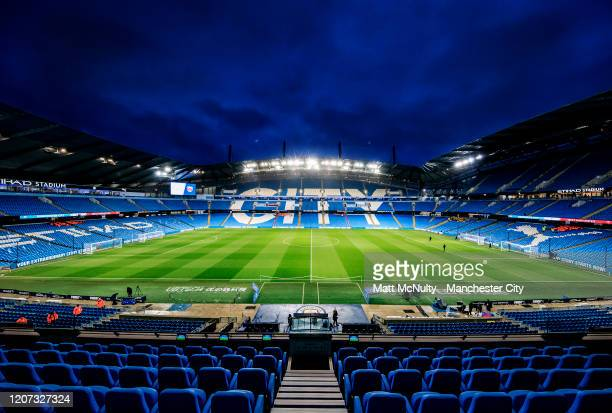 General view inside the stadium prior to the Premier League match between Manchester City and West Ham United at Etihad Stadium on February 19, 2020...