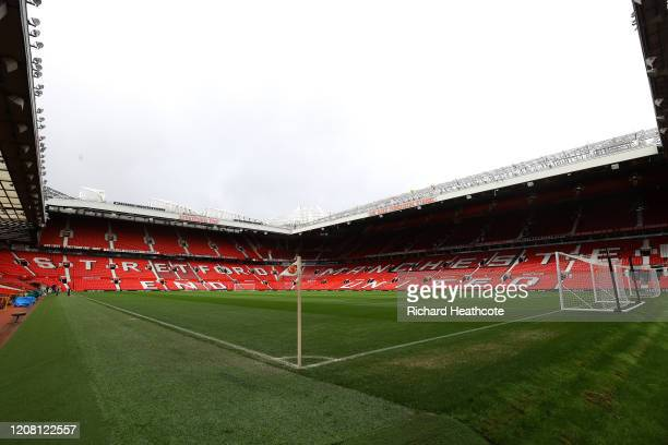 General view inside the stadium prior to the Premier League match between Manchester United and Watford FC at Old Trafford on February 23, 2020 in...