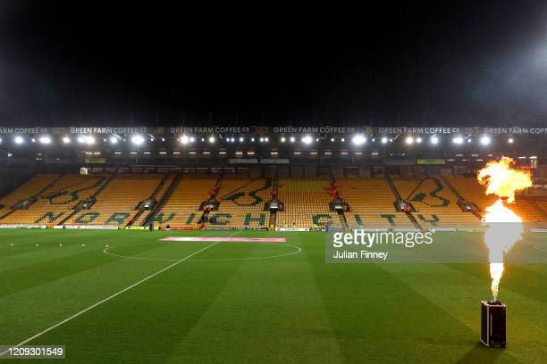 General view inside the stadium prior to the Premier League match between Norwich City and Leicester City at Carrow Road on February 28, 2020 in...