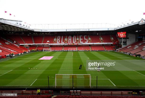 General view inside the stadium prior to the Premier League match between Sheffield United and Norwich City at Bramall Lane on March 07, 2020 in...
