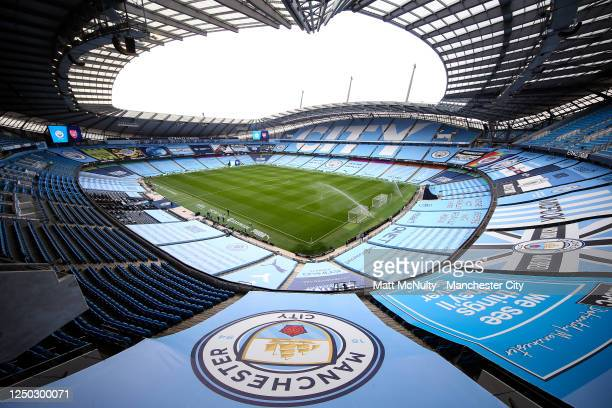 General view inside the stadium prior to the Premier League match between Manchester City and Arsenal FC at Etihad Stadium on June 17, 2020 in...