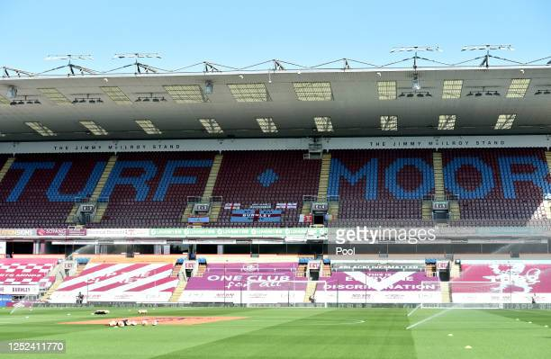 General view inside the stadium prior to the Premier League match between Burnley FC and Watford FC at Turf Moor on June 25, 2020 in Burnley, United...