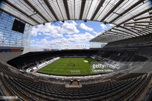 General view inside the stadium prior to the Premier League match between Newcastle United and West Ham United at St. James Park on July 05, 2020 in...