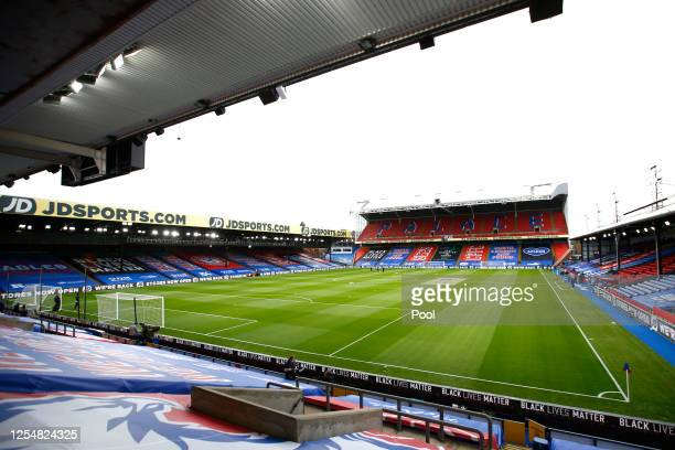 General view inside the stadium prior to the Premier League match between Crystal Palace and Chelsea FC at Selhurst Park on July 07, 2020 in London,...
