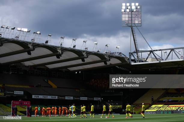 General view inside the stadium prior to the Premier League match between Watford FC and Newcastle United at Vicarage Road on July 11, 2020 in...