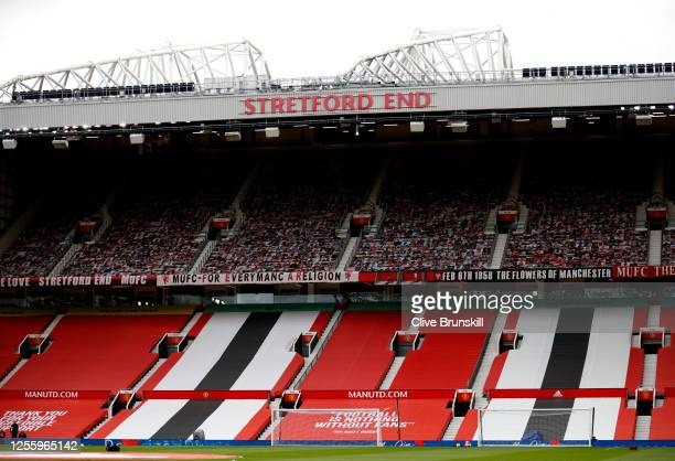 General view inside the stadium prior to the Premier League match between Manchester United and Southampton FC at Old Trafford on July 13, 2020 in...