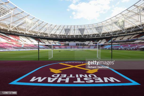 General view inside the stadium prior to the Premier League match between West Ham United and Watford FC at London Stadium on July 17, 2020 in...